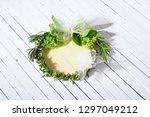 wedding wreath from rosemary... | Shutterstock . vector #1297049212