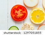 fruit slices variation on white ... | Shutterstock . vector #1297051855