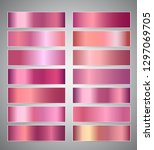 set of rose gold or shiny pink... | Shutterstock .eps vector #1297069705
