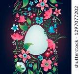 easter floral background.... | Shutterstock .eps vector #1297077202