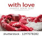 red cup with hot drink stands... | Shutterstock . vector #1297078282