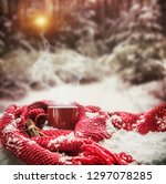 red cup with hot drink stands... | Shutterstock . vector #1297078285