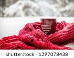 cup with two hearts and a hot... | Shutterstock . vector #1297078438