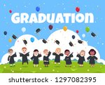 graduate kids background.... | Shutterstock .eps vector #1297082395