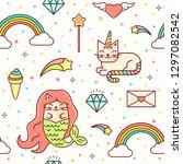 vector kawaii seamless magic...   Shutterstock .eps vector #1297082542