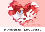valentines day sale card with... | Shutterstock .eps vector #1297084552