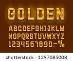 golden font alphabet  number... | Shutterstock .eps vector #1297085008