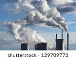 smoking cooling towers of coal... | Shutterstock . vector #129709772