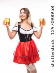 young oktoberfest woman wearing ... | Shutterstock . vector #1297098958