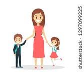 mother standing with children.... | Shutterstock .eps vector #1297099225