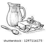 sketch hand drawn jug with milk ... | Shutterstock .eps vector #1297116175