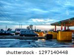 indian toll plaza in rainy day | Shutterstock . vector #1297140448