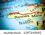 rennes. france on a map | Shutterstock . vector #1297145692