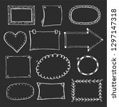 hand drawn set of simple frame... | Shutterstock .eps vector #1297147318