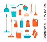 spring cleaning. vector set of... | Shutterstock .eps vector #1297154728