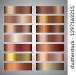 Stock vector set of bronze gradient vector banners templates or website headers vector gradation design for 1297163215
