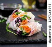 vegetarian vietnamese spring... | Shutterstock . vector #1297166995