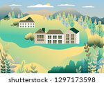 rural valley view farm... | Shutterstock .eps vector #1297173598
