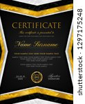 certificate template with... | Shutterstock .eps vector #1297175248