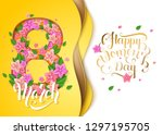 happy women's day greeting card.... | Shutterstock .eps vector #1297195705