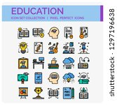 education icons set. ui pixel... | Shutterstock .eps vector #1297196638