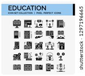 education icons set. ui pixel... | Shutterstock .eps vector #1297196665