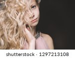 beautiful young girl child on a ...   Shutterstock . vector #1297213108