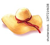 Yellow Straw Beach Sun Hat Wit...
