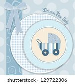 Baby Boy Announcement Card In...