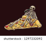 skull drunk on a pizza with... | Shutterstock .eps vector #1297232092