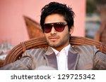 portrait of a handsome bi... | Shutterstock . vector #129725342