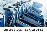 group of blue folding... | Shutterstock . vector #1297280662