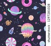 sweet space seamless pattern... | Shutterstock .eps vector #1297281028