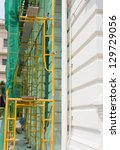 close up yellow scaffolding at... | Shutterstock . vector #129729056