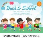 kids going to school  back to... | Shutterstock .eps vector #1297291018