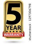 5 year warranty golden label ... | Shutterstock .eps vector #1297306798