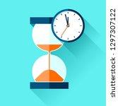 hourglass and analog clock... | Shutterstock .eps vector #1297307122