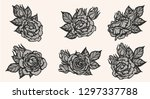 rose lace ornament vector by... | Shutterstock .eps vector #1297337788
