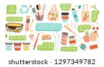 collection of zero waste... | Shutterstock .eps vector #1297349782