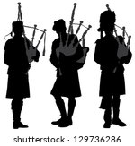 art,bag,bagpipe,beret,black,culture,human,illustration,instrument,isolated,kilt,male,men,music,musical