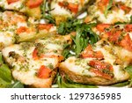 bruschetta cheese top view | Shutterstock . vector #1297365985