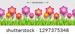 fake paper flowers and grass on ... | Shutterstock .eps vector #1297375348