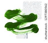 green brush stroke and texture. ... | Shutterstock .eps vector #1297380562