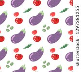 tomatoes and eggplant vector... | Shutterstock .eps vector #1297381255