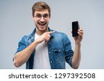 portrait of a cheerful young... | Shutterstock . vector #1297392508