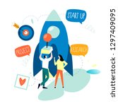 business project start up... | Shutterstock .eps vector #1297409095