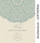 invitation cards baroque beige  ... | Shutterstock .eps vector #129740966
