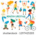 healthy lifestyle. different... | Shutterstock .eps vector #1297425205