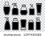 set of cosmetic bottle icons...   Shutterstock .eps vector #1297435285