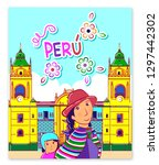 peruvian with girl in national... | Shutterstock .eps vector #1297442302